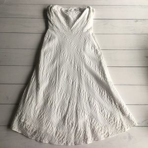 J. Crew White Textured Strapless Dress Sz 2